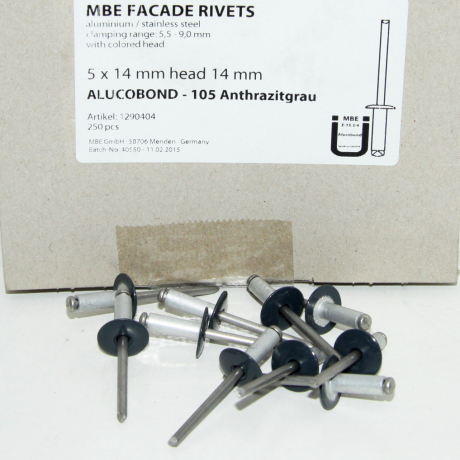 rivet alu/inox Ø5 kop 14mm 105 Antracit (250st)